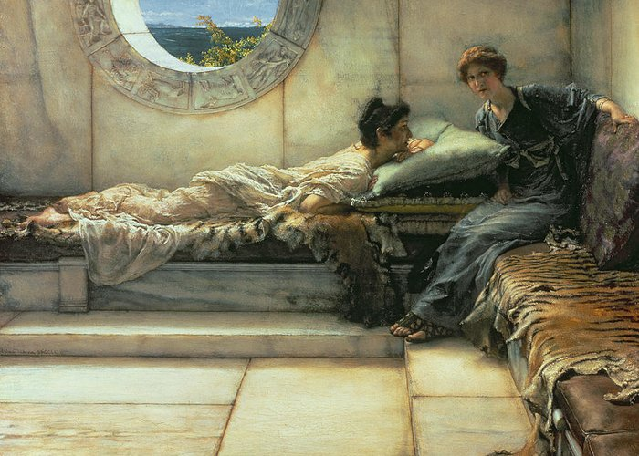 The Greeting Card featuring the painting The Secret by Sir Lawrence Alma-Tadema