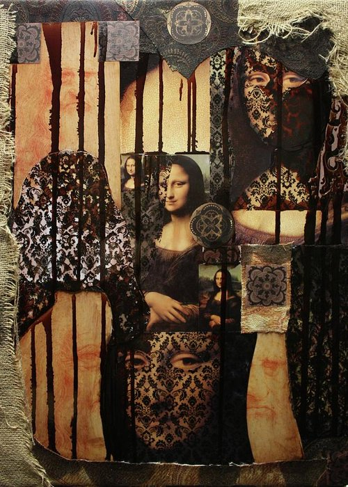 Mona Lisa Greeting Card featuring the mixed media The Secrets Of Mona Lisa by Michael Kulick