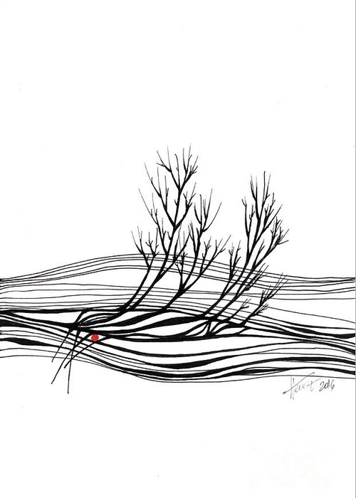 Trees Greeting Card featuring the drawing The Seed by Aniko Hencz