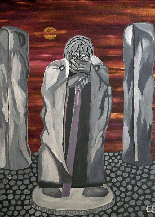 Stone Greeting Card featuring the painting The Seer by Carolyn Cable