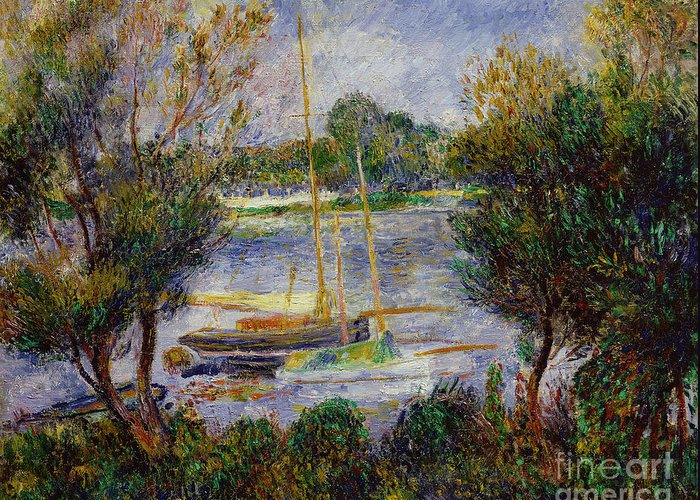 The Greeting Card featuring the painting The Seine At Argenteuil by Pierre Auguste Renoir