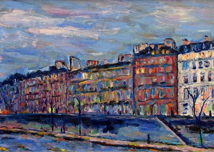 Seine Greeting Card featuring the painting The Seine In Paris by Rob White