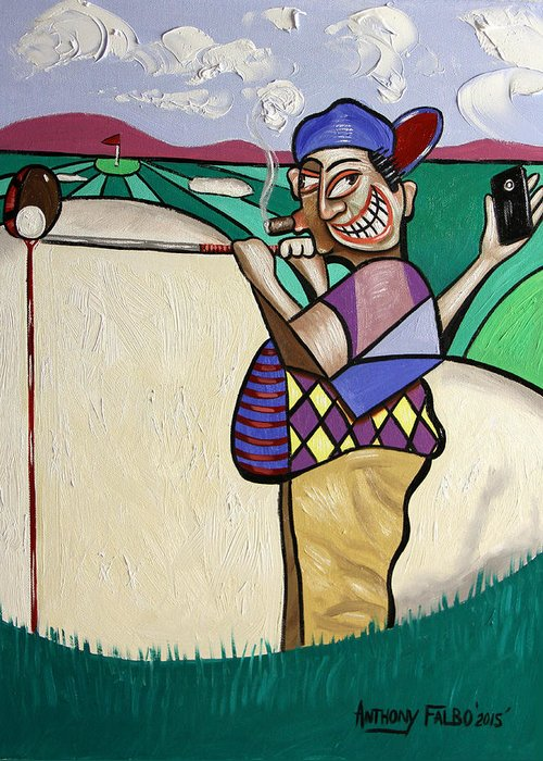 The 7th Hole Greeting Card featuring the painting The Seventh Hole I Did It My Way by Anthony Falbo