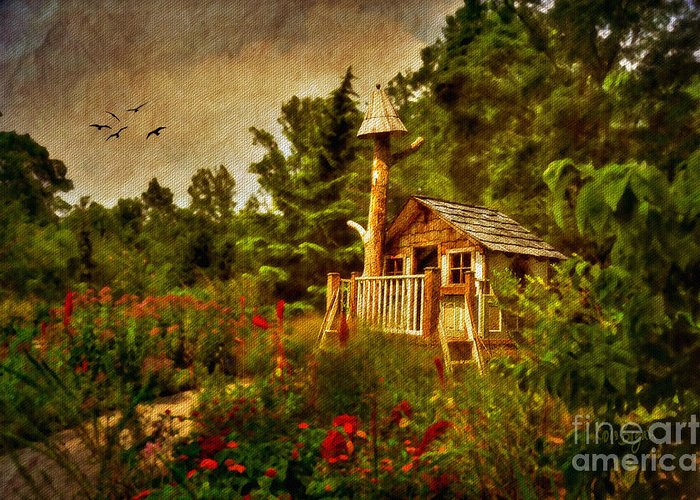 Playhouse Greeting Card featuring the digital art The Shire by Lois Bryan