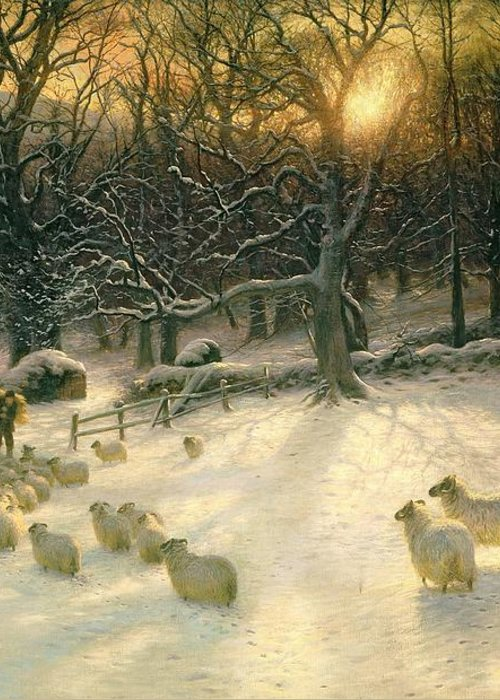 Winter Greeting Card featuring the painting The Shortening Winters Day Is Near A Close by Joseph Farquharson