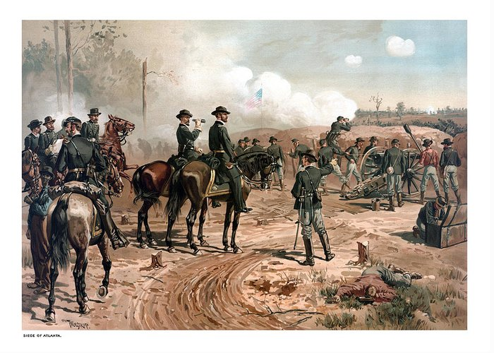 General Sherman Greeting Card featuring the painting The Siege Of Atlanta by War Is Hell Store