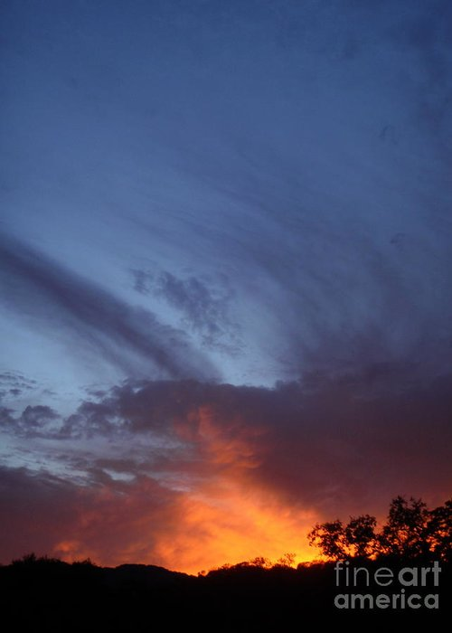 Sunset Greeting Card featuring the photograph The Sky Is On Fire by Cullen Knappen