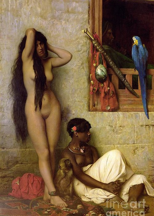 The Greeting Card featuring the painting The Slave For Sale by Jean Leon Gerome