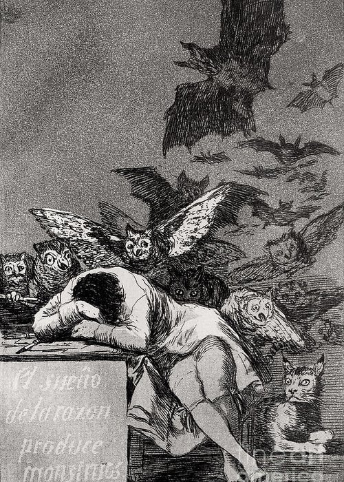 The Greeting Card featuring the painting The Sleep Of Reason Produces Monsters by Goya