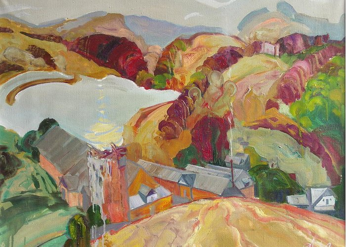Oil Greeting Card featuring the painting The Slovechansk Edge by Sergey Ignatenko