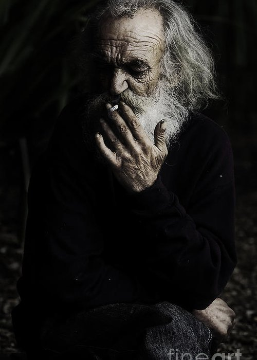 Homeless Male Smoking Smoker Aged Greeting Card featuring the photograph The Smoker by Avalon Fine Art Photography