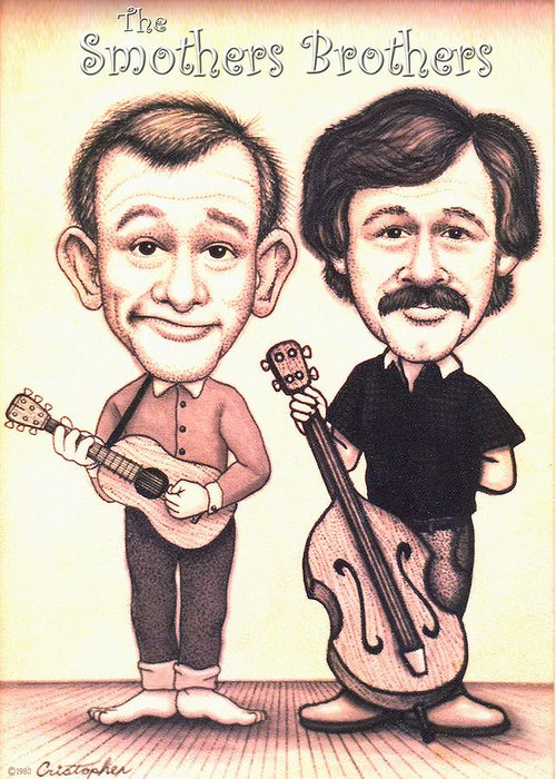 The Smothers Brothers Greeting Card featuring the drawing The Smothers Brothers by Cristophers Dream Artistry