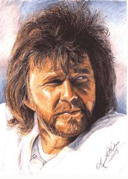 Portrait Greeting Card featuring the painting The Snake - Ken Stabler by Kenneth Kelsoe