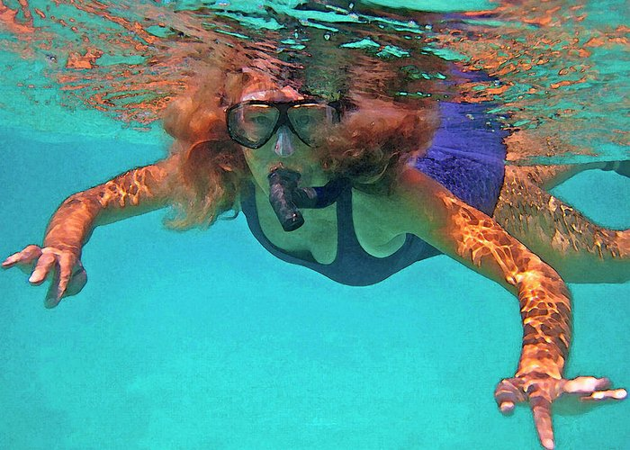 Woman Snorkeling Greeting Card featuring the photograph The Snorkeler by Bette Phelan