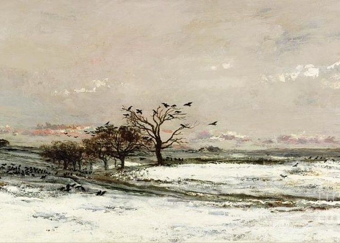 The Greeting Card featuring the painting The Snow by Charles Francois Daubigny