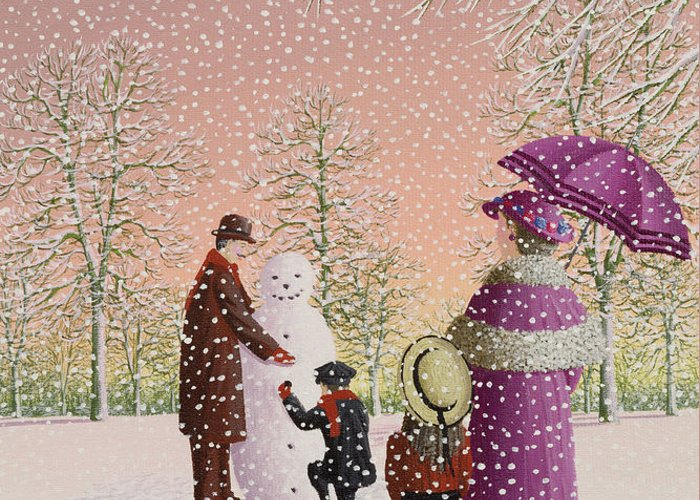 Snowman; Snow; Snowing; Winter; Cold; Woman; Umbrella; Parasol; Child; Children; Man; Playing; Outside; Landscape; Tree Greeting Card featuring the painting The Snowman by Peter Szumowski