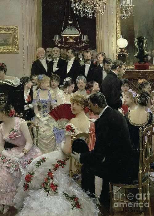 The Greeting Card featuring the painting The Soiree by Jean Beraud
