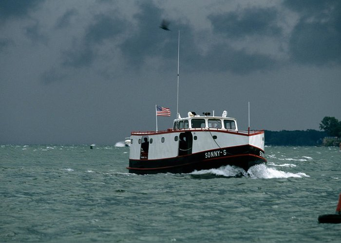Ferry Greeting Card featuring the photograph The Sonny S Returning From Lonz Winery On Middle Bass Island by John Harmon