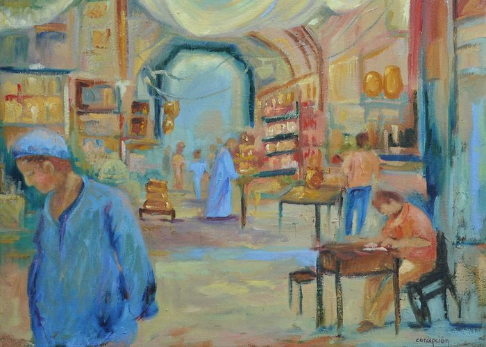 Figurative Greeting Card featuring the painting The Souk by Ginger Concepcion