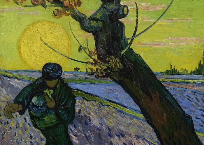 Van Gogh Greeting Card featuring the painting The Sower 10 by Vincent van Gogh