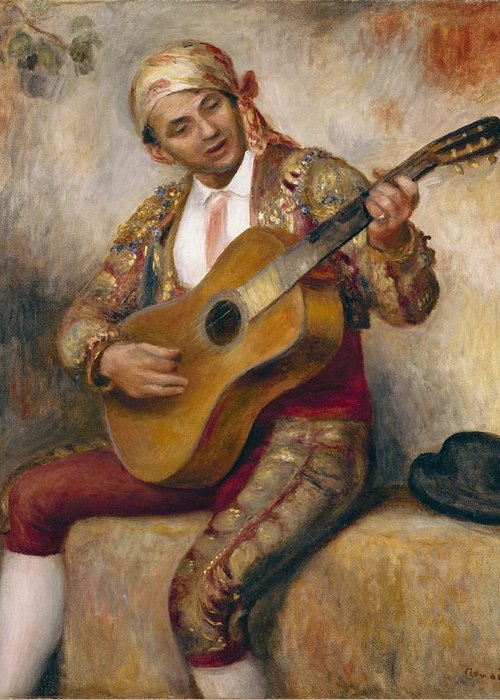 The Greeting Card featuring the painting The Spanish Guitarist by Pierre Auguste Renoir