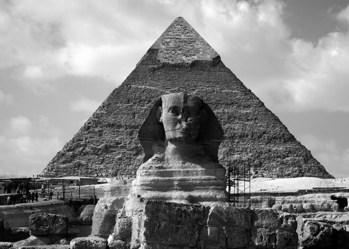 Pyramid Greeting Card featuring the photograph The Sphynx And The Pyramid by Donna Corless