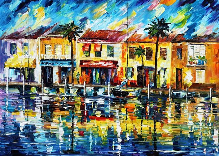 Afremov Greeting Card featuring the painting The Spirit Of Miami by Leonid Afremov
