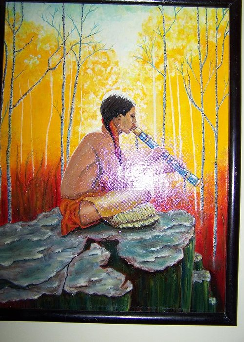 Greeting Card featuring the painting The Spirits Are Present by Charles Vaughn