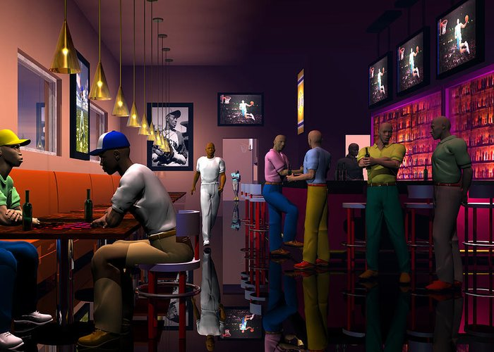 Male Portraits Greeting Card featuring the digital art The Sport's Bar by Walter Oliver Neal