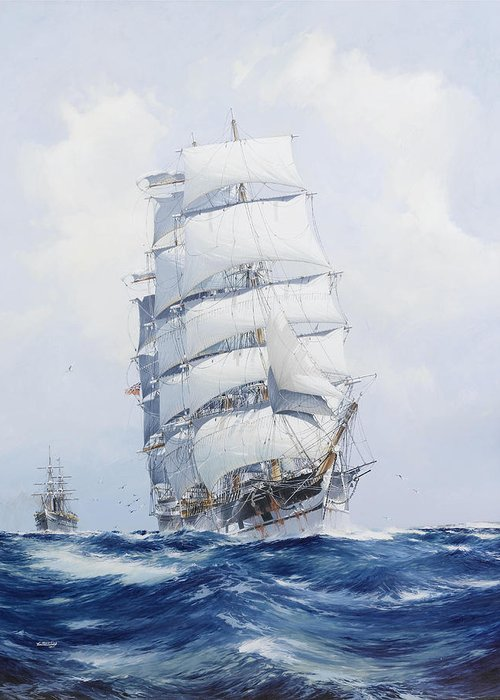 Tall Ships On Water Greeting Cards