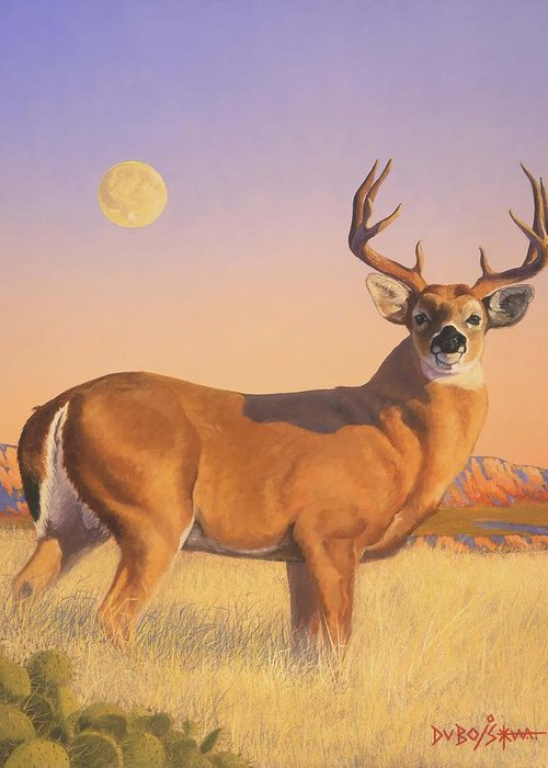 Deer Greeting Card featuring the painting The Stag by Howard Dubois