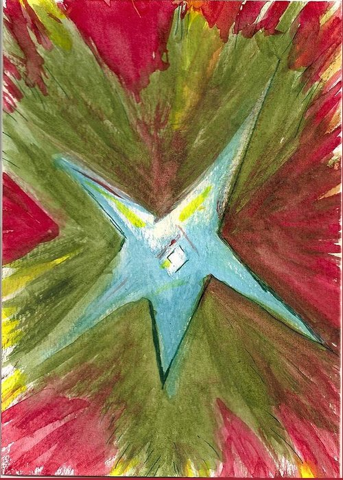 Bright Star Greeting Card featuring the painting The Star From The Top Of The Tree by Denise Marie Johnson