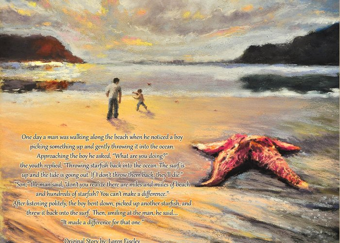 Starfish Painting Greeting Card featuring the pastel The Starfish by Susan Jenkins