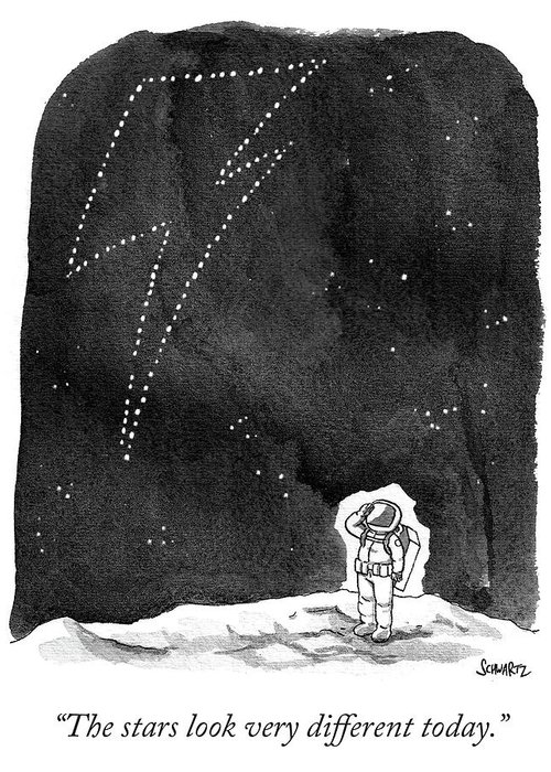 """the Stars Look Very Different Today."" Greeting Card featuring the drawing The Stars Look Very Different Today by Benjamin Schwartz"