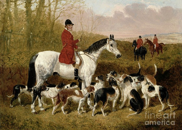 The Greeting Card featuring the painting The Start by John Frederick Herring Snr