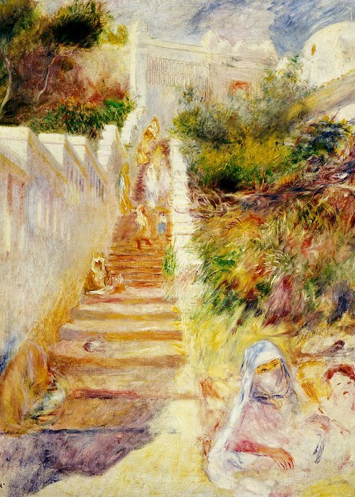 The Steps Greeting Card featuring the painting The Steps In Algiers by Pierre Auguste Renoir