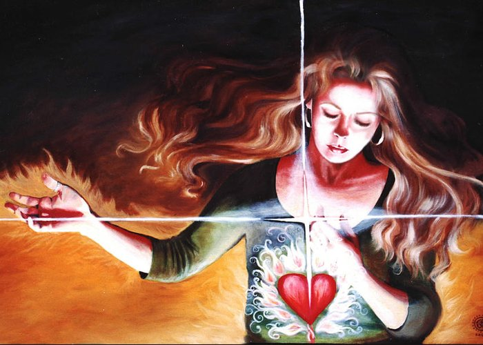 Christian Greeting Card featuring the painting The Stirring by Teresa Carter