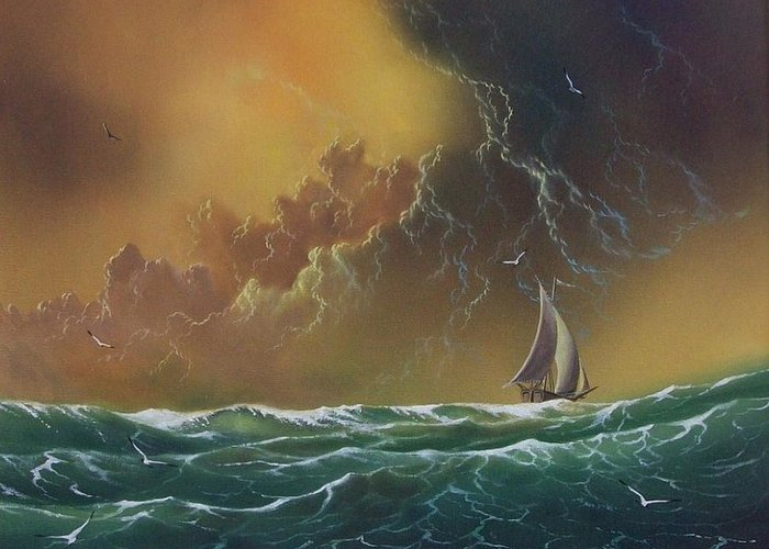 Seascape Greeting Card featuring the painting The Storm by Don Griffiths