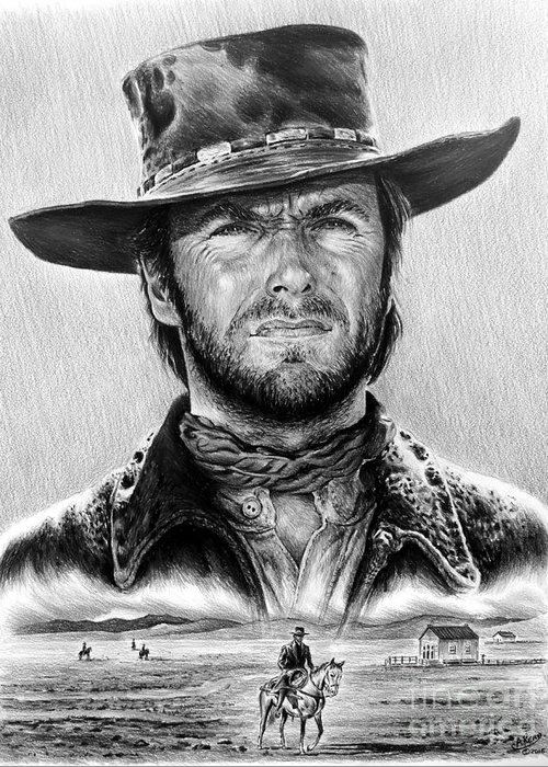 Clint Eastwood Greeting Card featuring the drawing The Stranger Bw 1 Version by Andrew Read