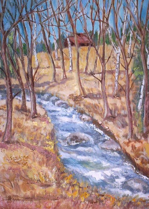 Landscape Greeting Card featuring the painting The Stream by Joseph Sandora Jr