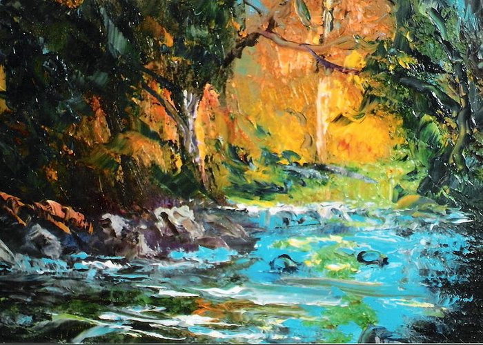Nature Greeting Card featuring the painting The Stream- Pochade by Felix Turner