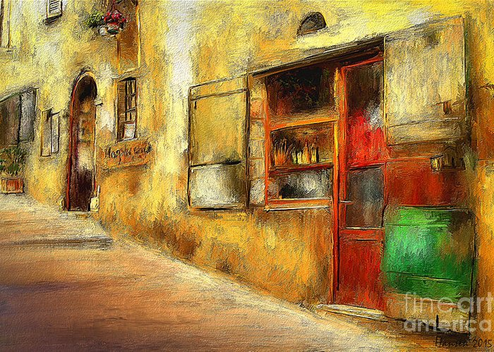 Building Greeting Card featuring the painting The Street -- Original Painting by Mia Hansen