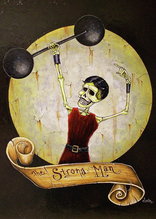 Tattoo Greeting Card featuring the painting The Strong Man by Matthew Powell