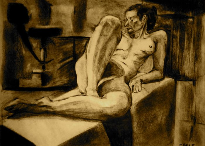 Female Nude Greeting Card featuring the painting The Studio by Dan Earle