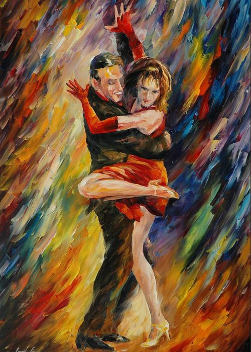 Dance Greeting Card featuring the painting The Sublime Tango by Leonid Afremov