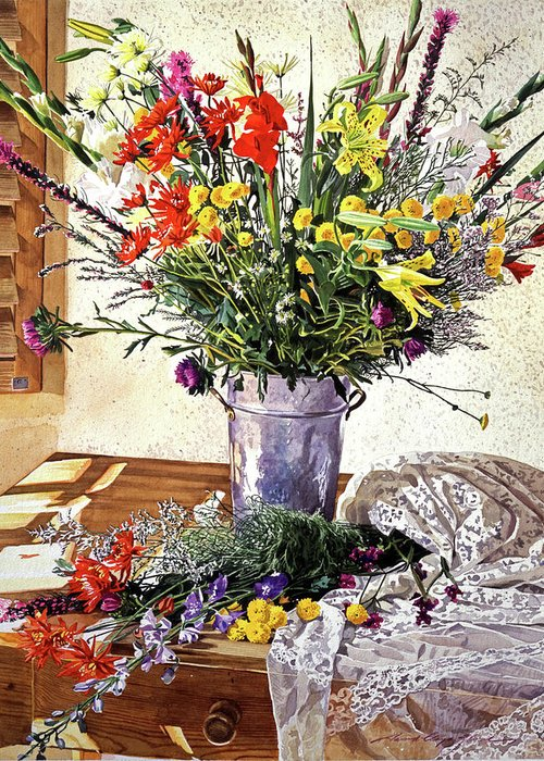 Still Life Greeting Card featuring the painting The Summer Room by David Lloyd Glover