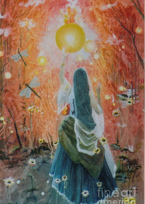 Fantasy Greeting Card featuring the painting The Sun Catcher by Jackie Mueller-Jones
