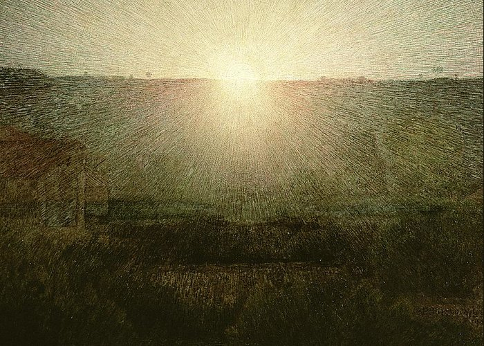 The Greeting Card featuring the painting The Sun by Giuseppe Pellizza da Volpedo