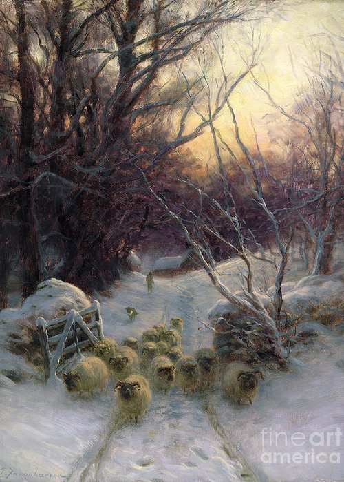 Winter Greeting Card featuring the painting The Sun Had Closed The Winter Day by Joseph Farquharson