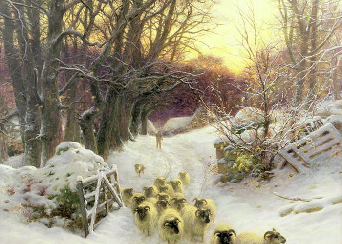 Sunset Greeting Card featuring the painting The Sun Had Closed The Winter's Day by Joseph Farquharson